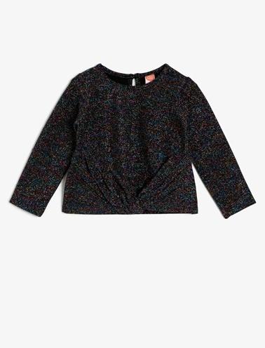Koton Kids Büzgülü Sweatshirt Siyah